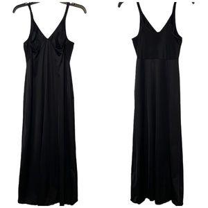 VINTAGE VANITY FAIR LONG SLIP BLACK DRESS